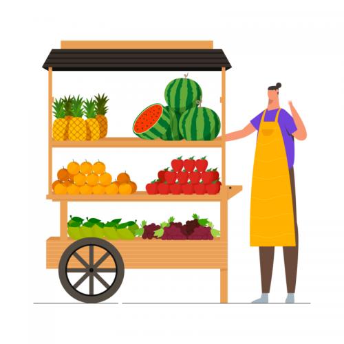 Fruit-Cart-With-Seller-Illustration